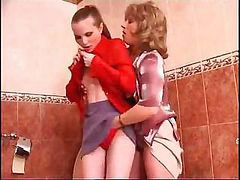 Lesbian play 5, Lesbian bathroom, Pussy lesbian, Two together, Two pussy, Two in two