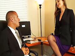 Naughty office, Blowjobs office, Hairy brunette, Danielle, Hairy vagina, Hairy masturbation