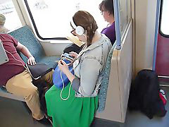 Train girl, Larg breast, Large-breasts, On train, On a train, Girl training