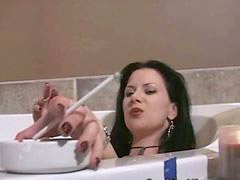 Bath, Soa, U tub, Soaking, Smoking brunette, In tub