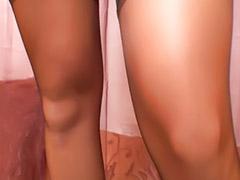 Stocking cum, Sloppy blowjob, Pov asian, Striptease, Heels stockings, Asian tease