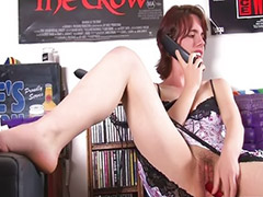 Toy solo, Call phone, Hairy brunette, Phone, Hairy vagina, Hairy masturbation