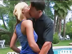 Poolside, Babe big tits, The big tits, Outdoor blonde, Blowjob poolside, Blonde babe blowjob