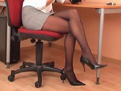 Pantyhose secretary, Black pantyhose, Black secretary, Secretaris sexi, Secretary sexy, Secretary pantyhose