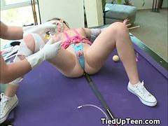 Teen, Tied, Pool, Tied up, Pussy on pussy, Girl on girl