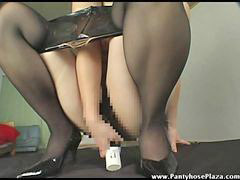 Pantyhose, Dildo, Mistress, Pantyhose fuck, Owned, Pussy fucking